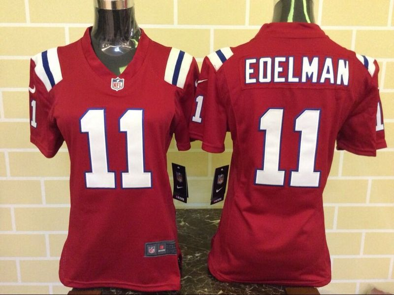 Womens England Patriots 11 Edelman Red 2015 Nike Jerseys