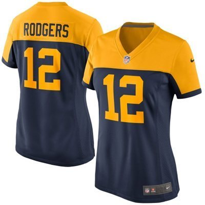 Womens Green Bay Packers 12 Aaron Rodgers Navy Alternate Game Jersey