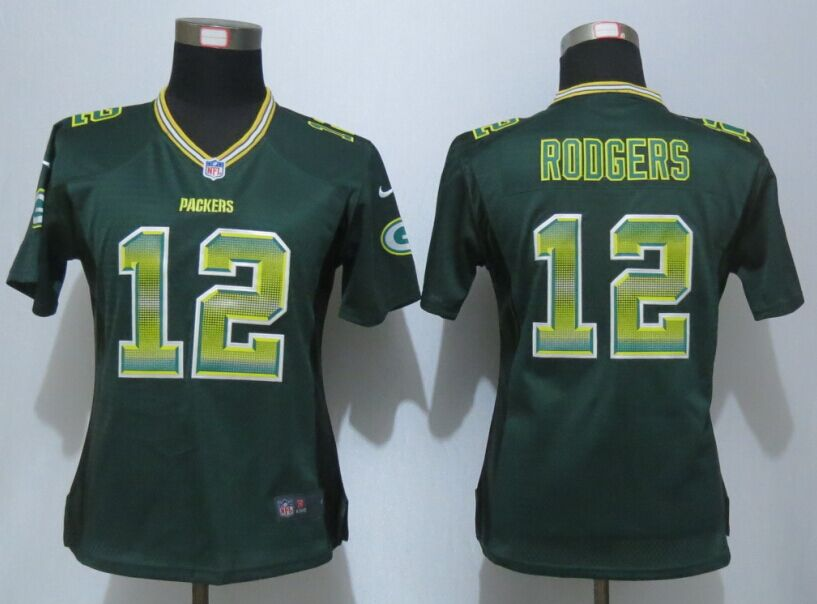 Womens Green Bay Packers 12 Rodgers Green Strobe New Nike Elite Jersey