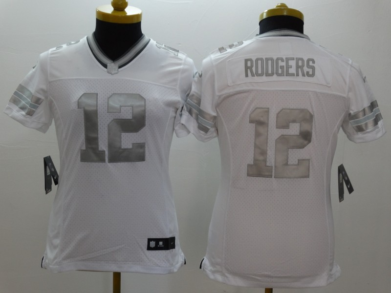 Womens Green Bay Packers 12 Rodgers Platinum White 2015 NEW Nike Limited  Jerseys 21d308dec