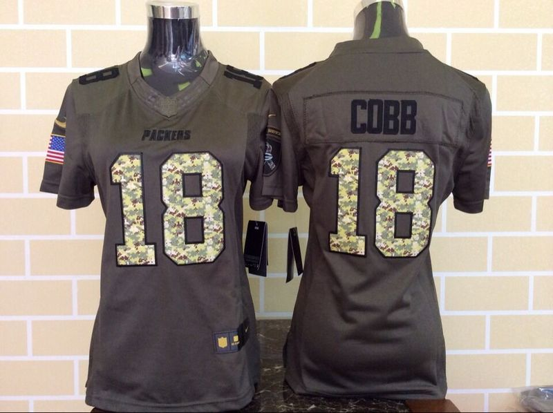 Womens Green Bay Packers 18 Randall Cobb Green Salute To Service Nike Limited Jersey