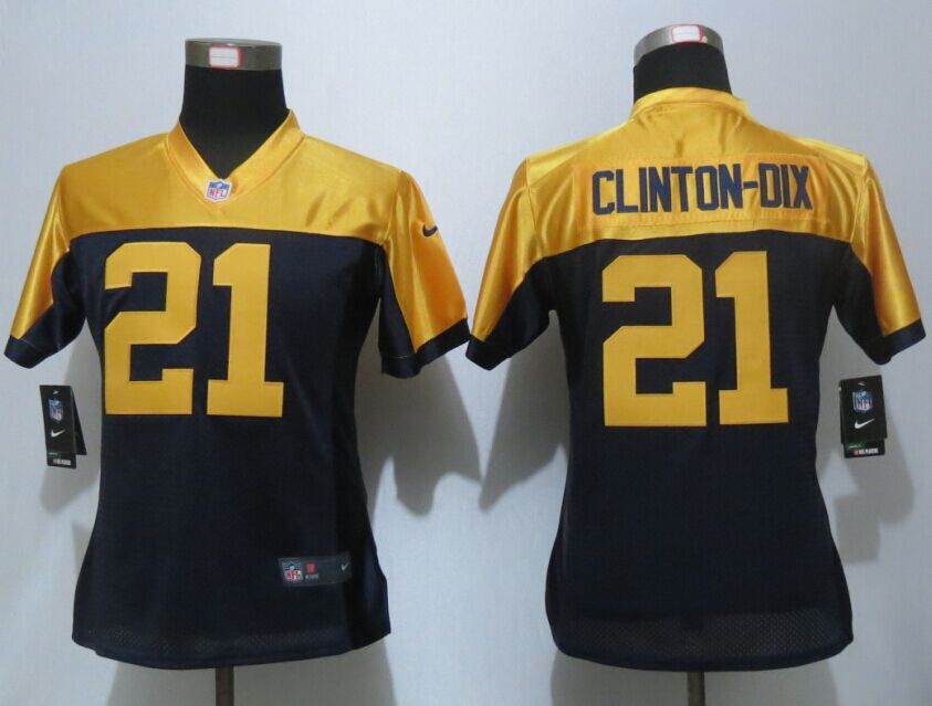 Womens Green Bay Packers 21 Clinton-Dix Navy Blue Nike Elite Jersey