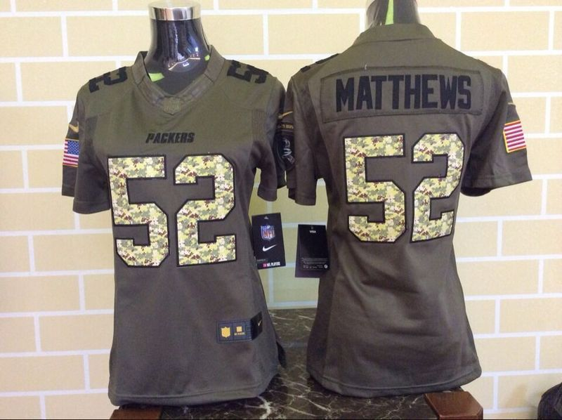 Womens Green Bay Packers 52 Matthews Green Salute To Service Nike Limited Jersey