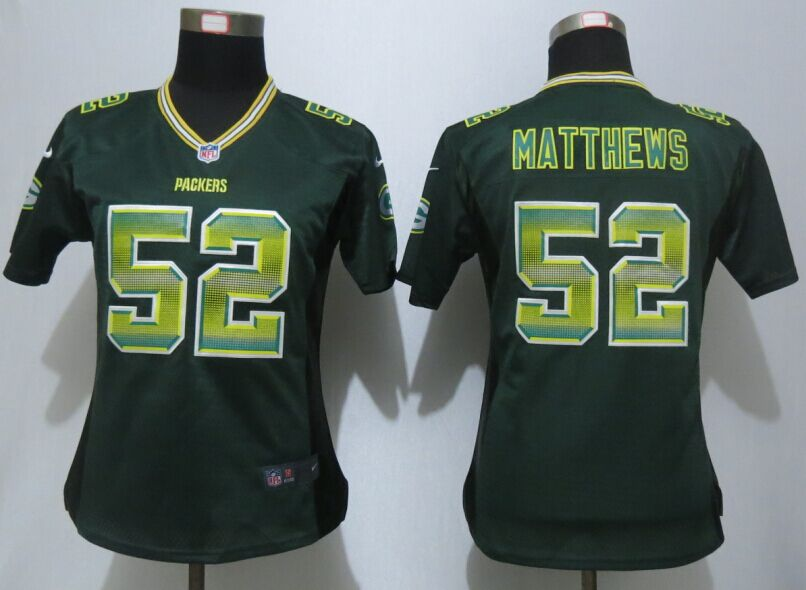 Womens Green Bay Packers 52 Matthews Green Strobe New Nike Elite Jersey