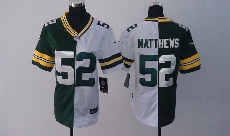 Womens Green Bay Packers 52 Matthews Green White Nike Split Jersey