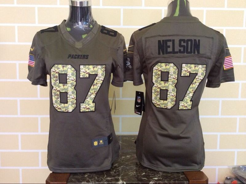 Womens Green Bay Packers 87 Jordy Nelson Green Salute To Service Nike Limited Jersey.