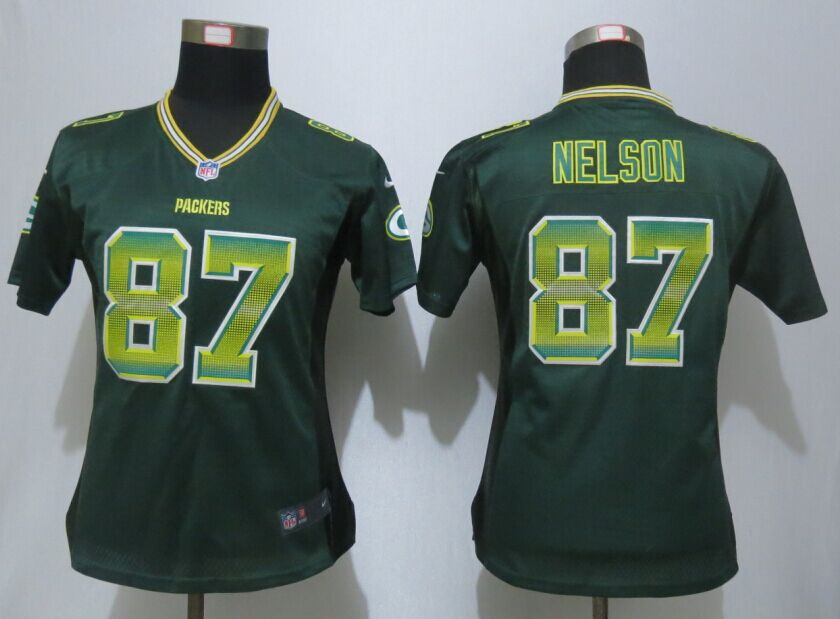 Womens Green Bay Packers 87 Nelson Green Strobe New Nike Elite Jersey