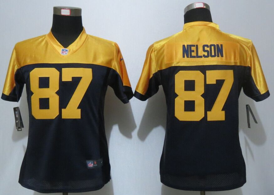 Womens Green Bay Packers 87 Nelson Navy Blue Nike Elite Jersey