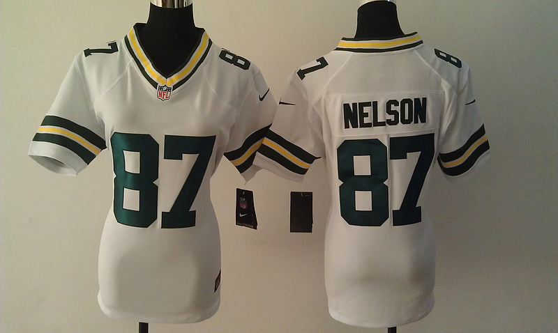 Womens Green Bay Packers 87 Nelson White Nike Jerseys