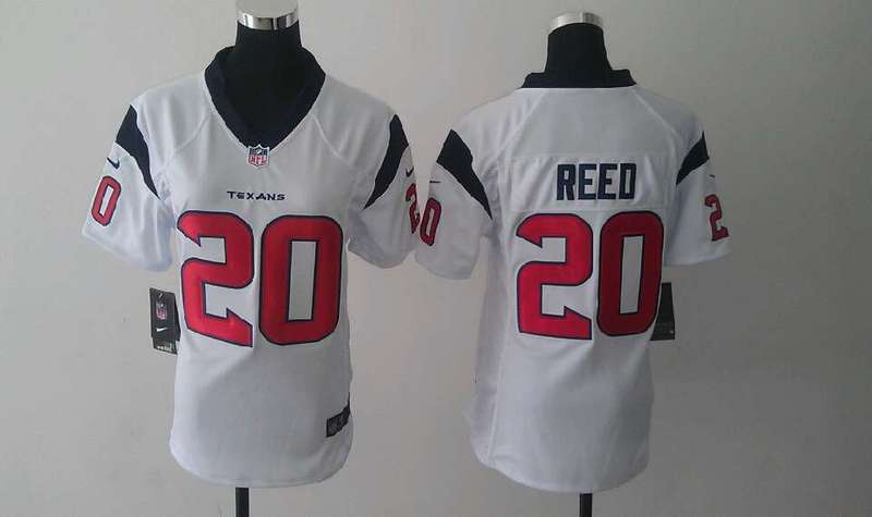 Womens Houston Texans 20 Ed Reed White Nike Jerseys