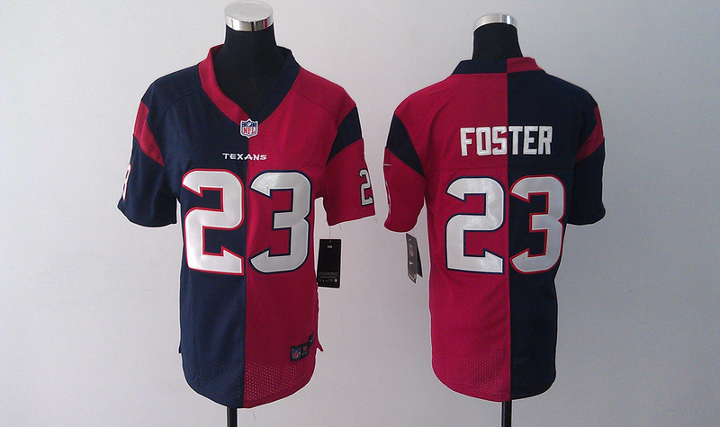 Womens Houston Texans 23 Foster Blue Red Nike Split Jersey