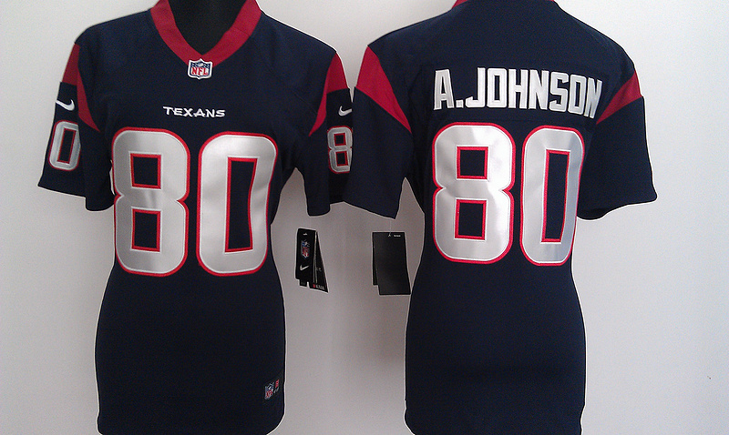 Womens Houston Texans 80 A.Johnson Blue Nike Jerseys