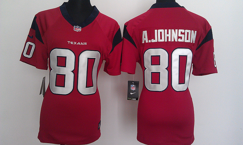 Womens Houston Texans 80 A.Johnson Red Nike Jerseys