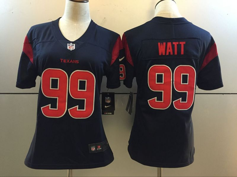 Womens Houston Texans 99 J. J. Watt Blue 2016 Nike Stitched NFL Limited Rush Jersey