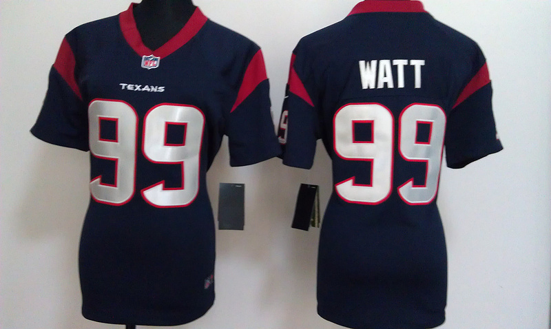 Womens Houston Texans 99 Watt Blue Nike Jerseys
