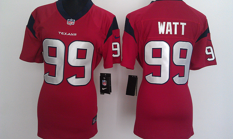 Womens Houston Texans 99 Watt Red Nike Jerseys
