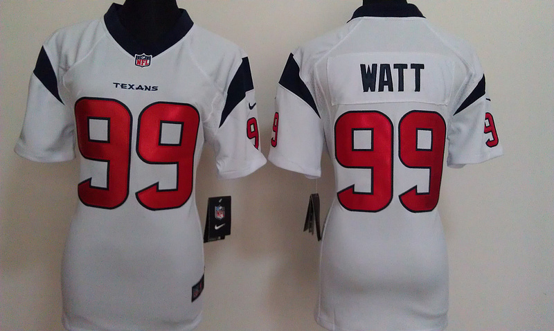 Womens Houston Texans 99 Watt White Nike Jerseys