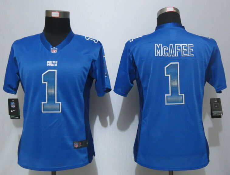 Womens Indianapolis Colts 1 McAfee Blue Strobe New Nike Elite Jersey