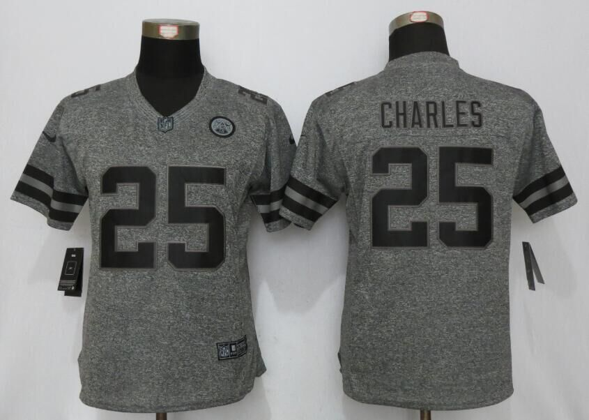 Womens Kansas City Chiefs 25 Charles Gray Stitched Gridiron Gray New Nike Limited Jersey