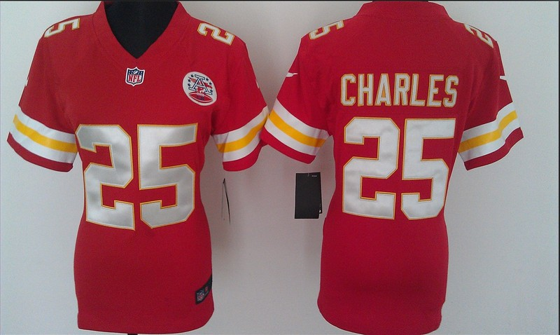 Womens Kansas City Chiefs 25 Charles Red Nike Jerseys
