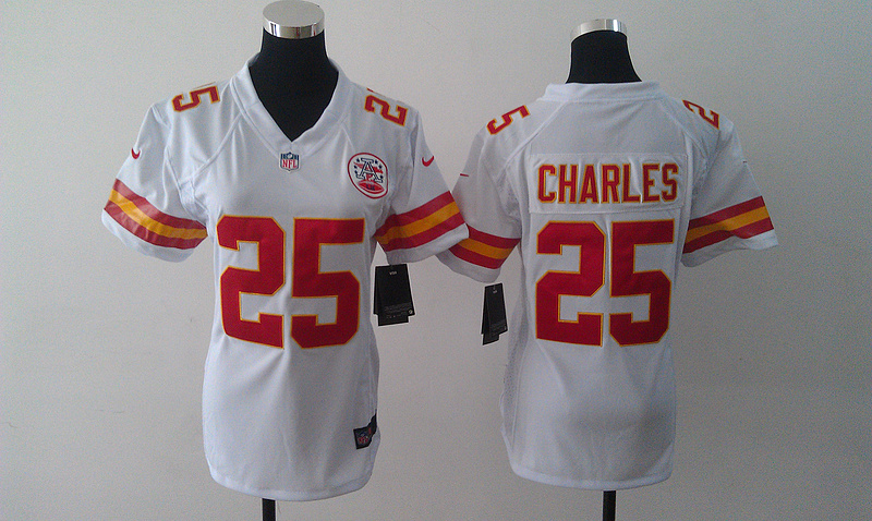 Womens Kansas City Chiefs 25 Jamaal Charles white Nike Jerseys