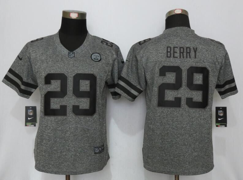 Womens Kansas City Chiefs 29 Berry Gray Stitched Gridiron Gray New Nike Limited Jersey