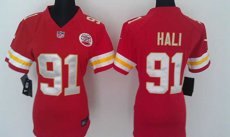 Womens Kansas City Chiefs 91 Hali Red Nike Jerseys