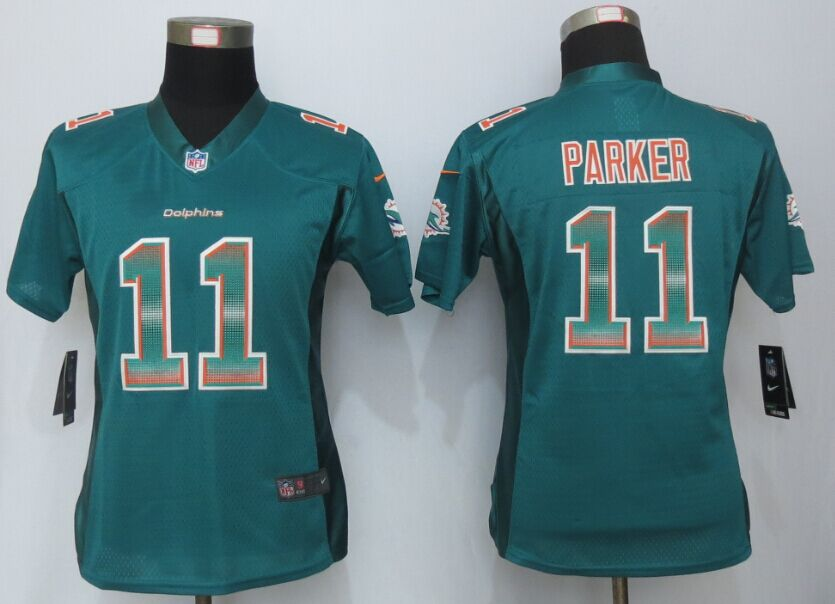 Womens Miami Dolphins 11 Parker Green Strobe New Nike Elite Jersey