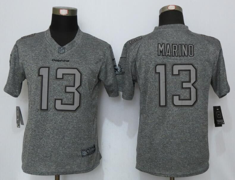 Womens Miami Dolphins 13 Marino Gray Stitched Gridiron Gray New Nike Limited Jerseys