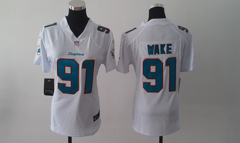 Womens Miami Dolphins 91 Wake White Nike Jerseys
