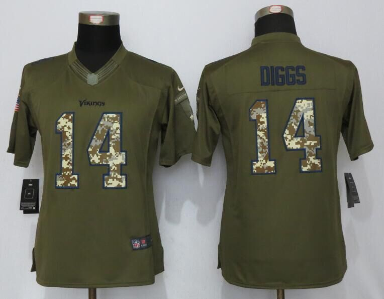 Womens Minnesota Vikings 14 Diggs Green Salute To Service New Nike Limited Jersey