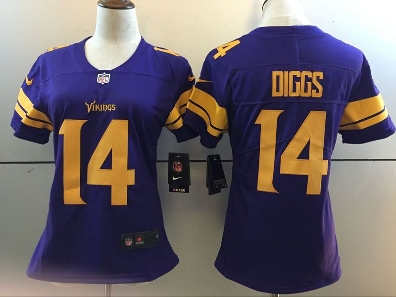 Womens Minnesota Vikings 14 Diggs Purple 2016 Nike Stitched NFL Limited Rush Jersey