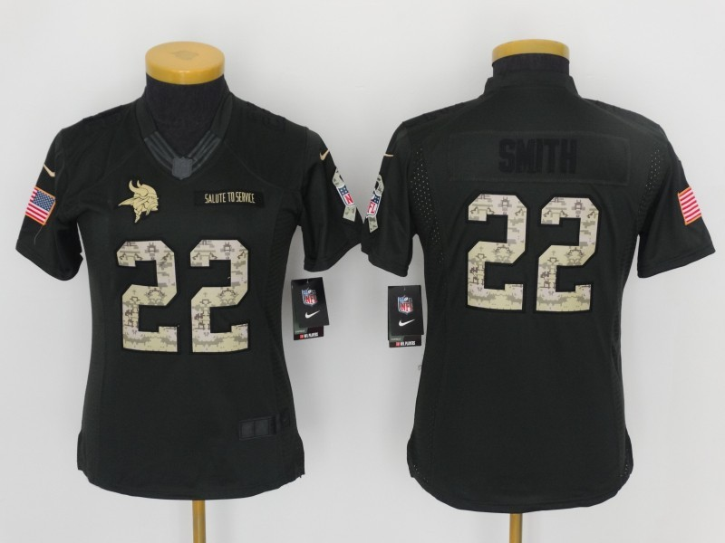 Womens Minnesota Vikings 22 Harrison Smith 2016 Nike Anthracite Salute to Service Limited Jersey