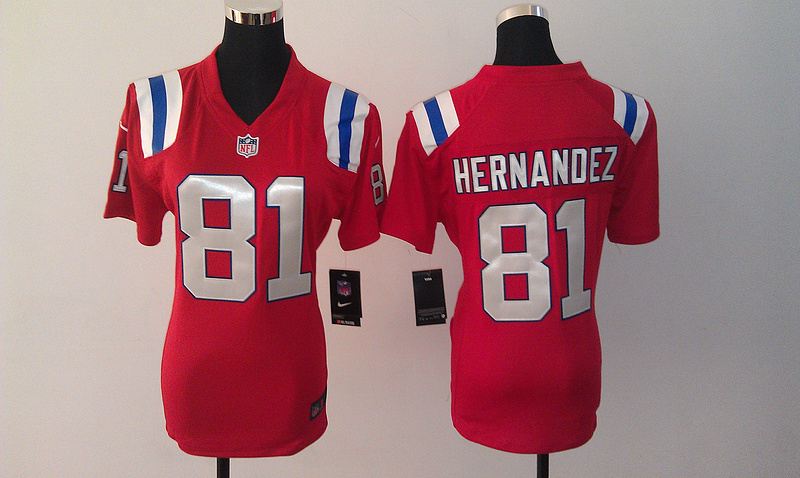 Womens New England Patriots 81 Aaron Hernandez Red Nike Jerseys