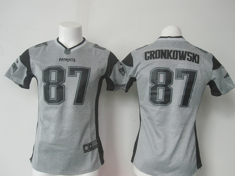 Womens New England Patriots 87 Rob Gronkowski Gray Nike Gridiron Gray Limited Jersey.