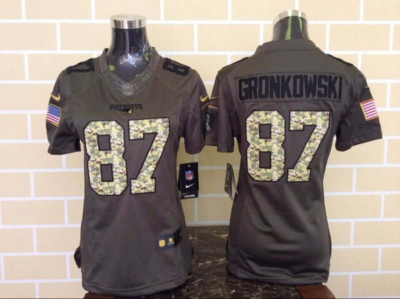 Womens New England Patriots 87 Rob Gronkowski Green Nike Salute To Service Limited Jersey