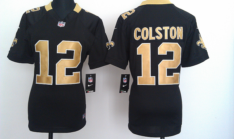 Womens New Orleans Saints 12 Colston Black Nike Jerseys
