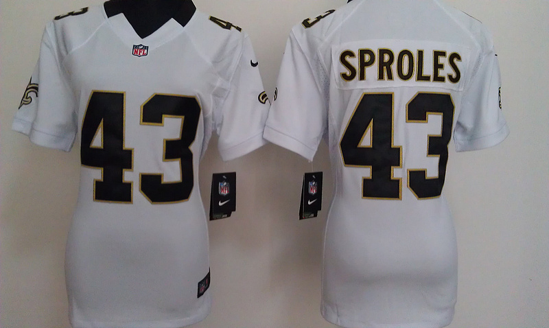 Womens New Orleans Saints 43 Sproles White Nike Jerseys