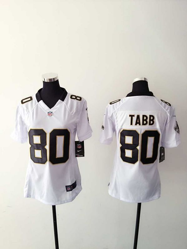 Womens New Orleans Saints 80 Tabb White 2015 Nike Jerseys