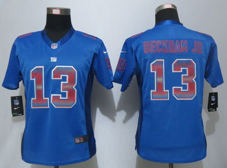 Womens New York Giants 13 Beckham jr Blue Strobe New Nike Elite Jersey