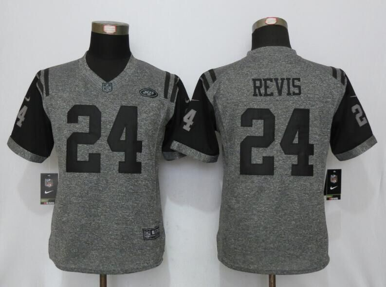 Womens New York Jets 24 Revis Gray Stitched Gridiron Gray New Nike Limited Jersey