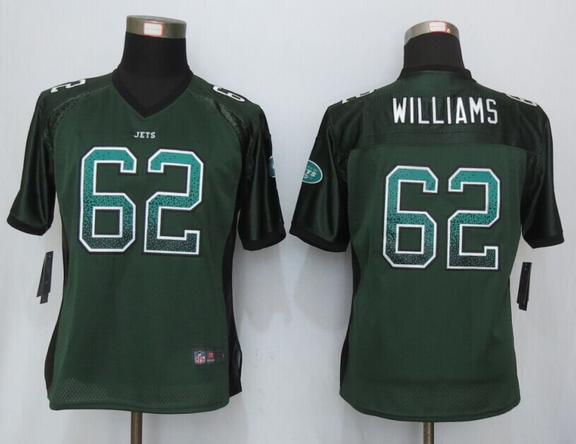 Womens New York Jets 62 Williams Drift Fashion Green NEW Nike Elite Jerseys