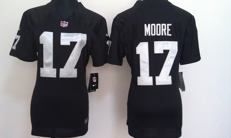 Womens Oakland Raiders 17 Moore Black Nike Jerseys