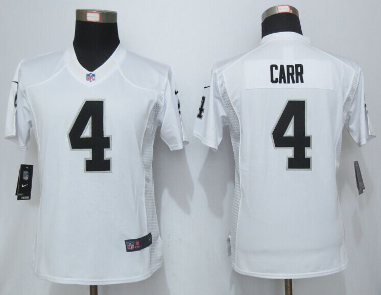 Womens Oakland Raiders 4 Carr White Limited New Nike Jersey