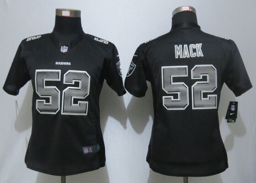 Womens Oakland Raiders 52 Mack Black Strobe New Nike Elite Jersey