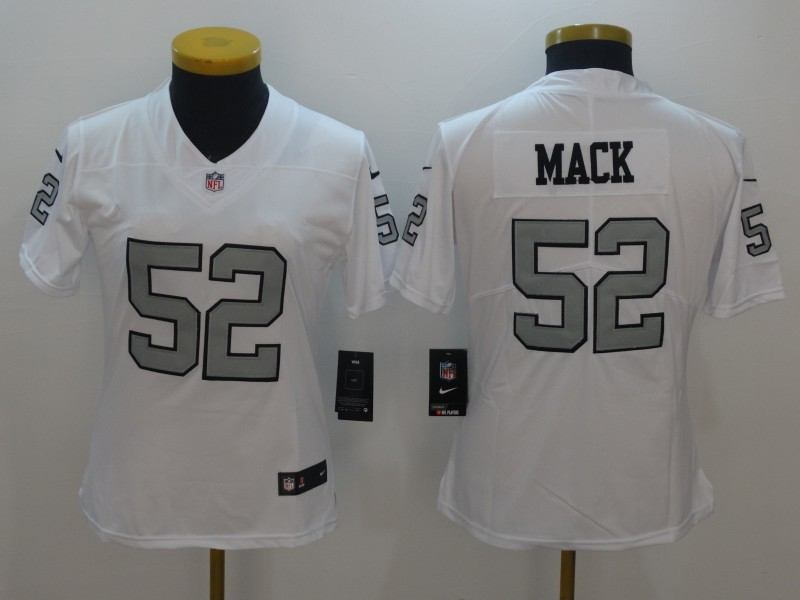 Womens Oakland Raiders 52 Mack Navy White Color Rush Limited Jersey