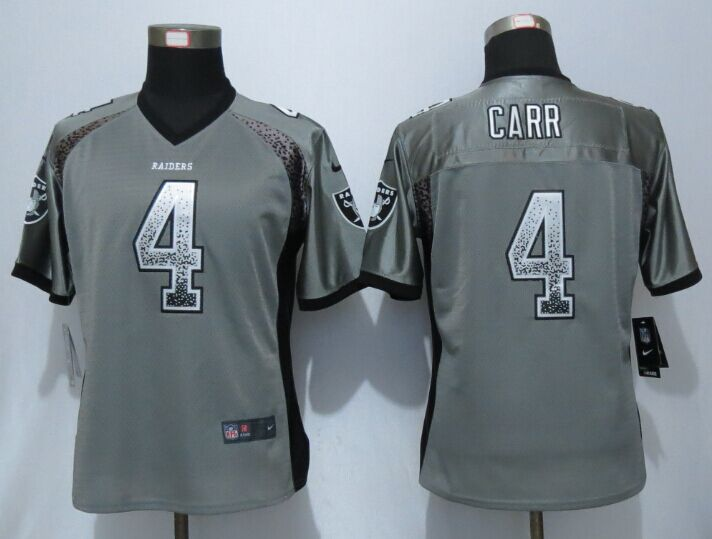 Womens Okaland Raiders 4 Carr Drift Fashion Grey New Nike Elite Jerseys