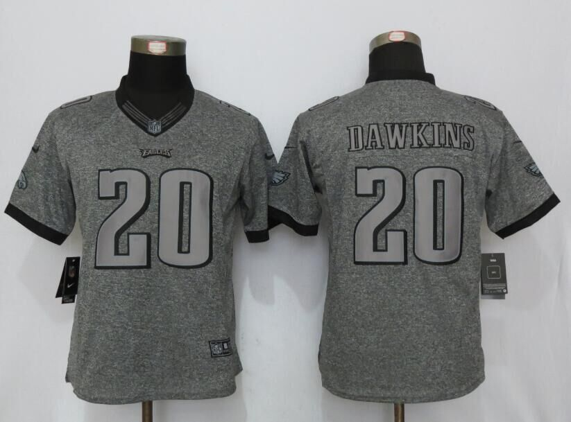 Womens Philadelphia Eagles 20 Dawkins Gray Stitched Gridiron Gray New Nike Limited Jerseys