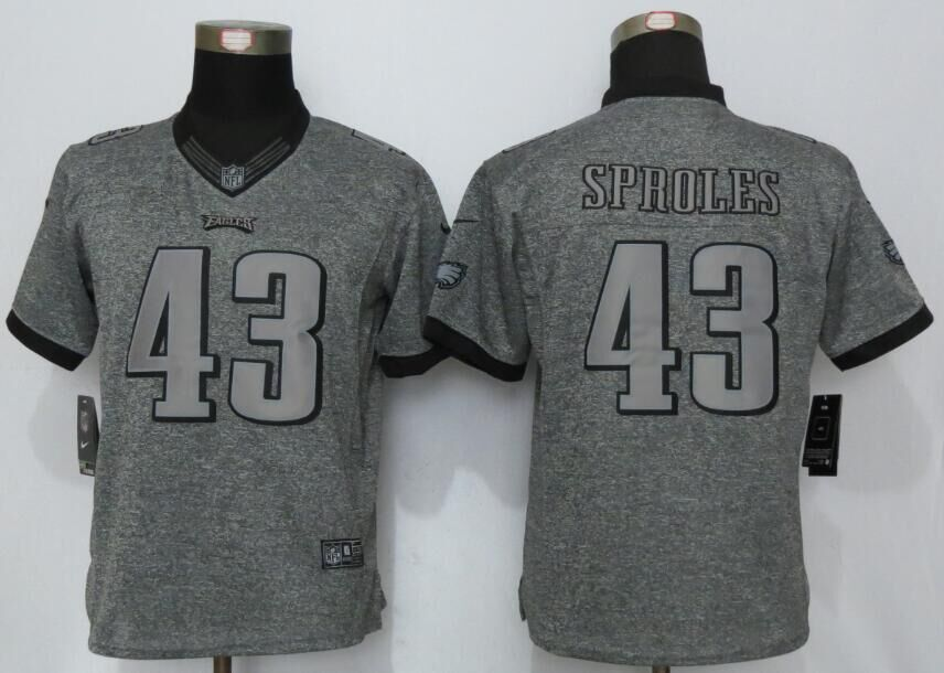 Womens Philadelphia Eagles 43 Sproles Gray Stitched Gridiron Gray New Nike Limited Jerseys