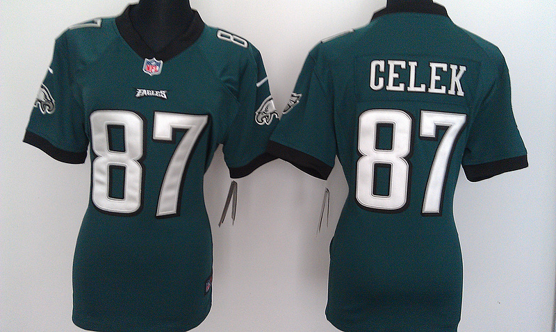 Womens Philadelphia Eagles 87 Brent Celek Green Nike Jerseys